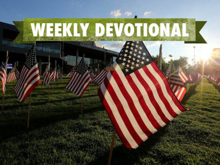 An American flag with the Weekly Devotional banner