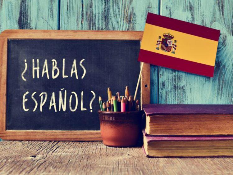 chalkboard with Spanish flag