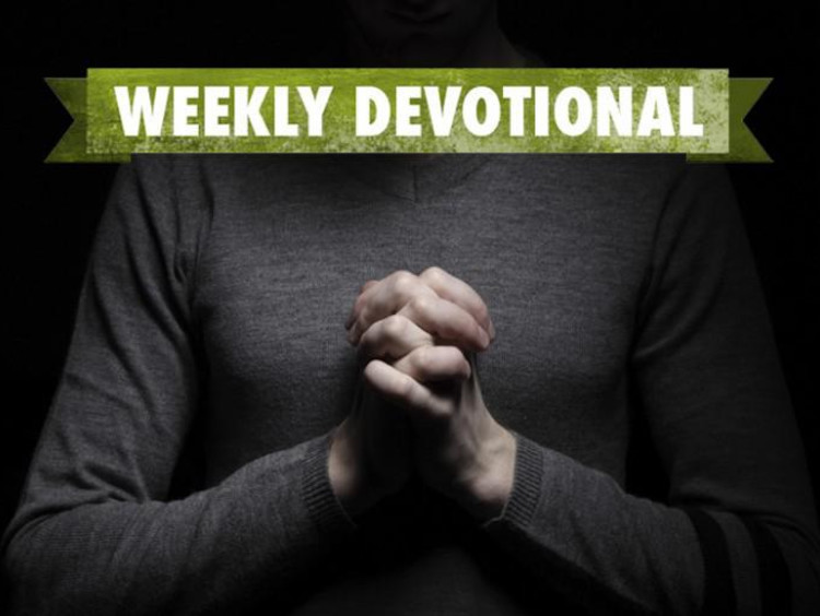 Praying hands under the Weekly Devotional banner