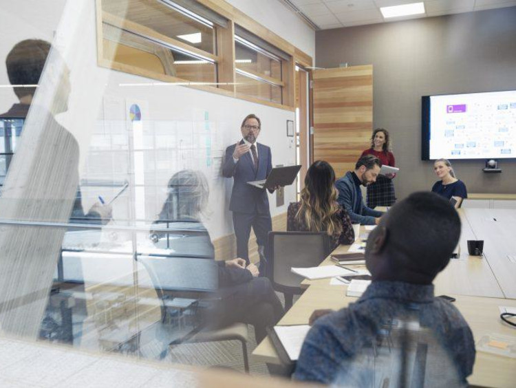 Employees meeting in an office