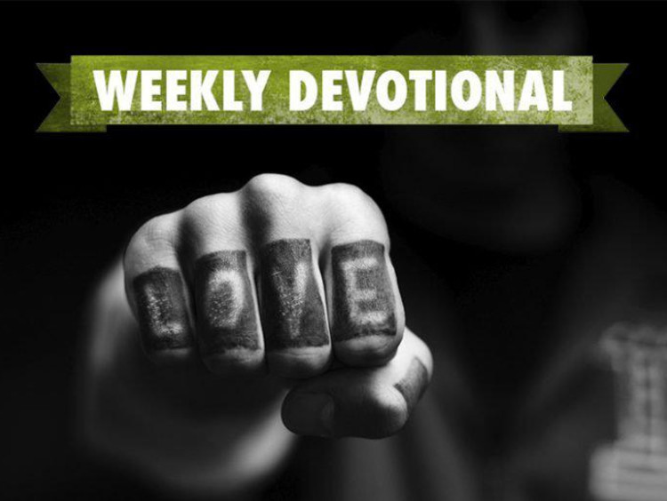 Weekly Devotional: Black and White fist with word love