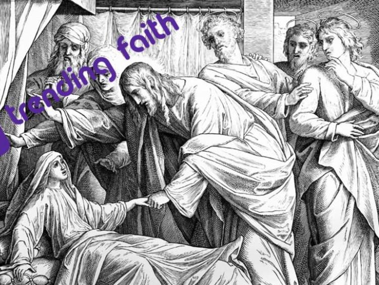 Trending faith logo over an illustration of Jesus healing others