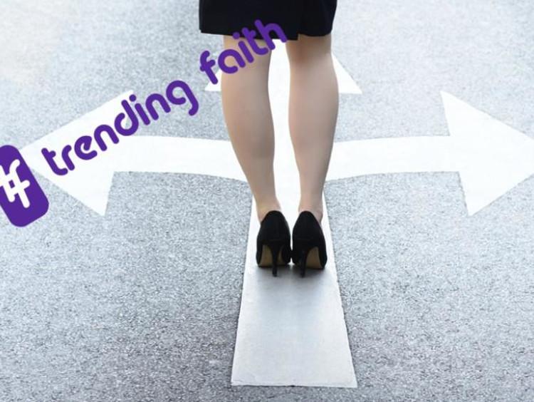 A woman facing multiple paths under the Trending Faith logo