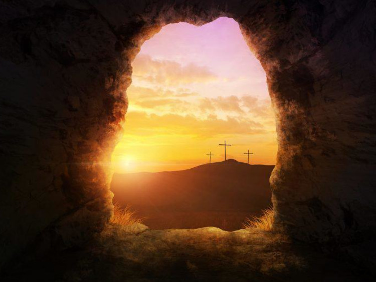 looking at crosses through a dark hole