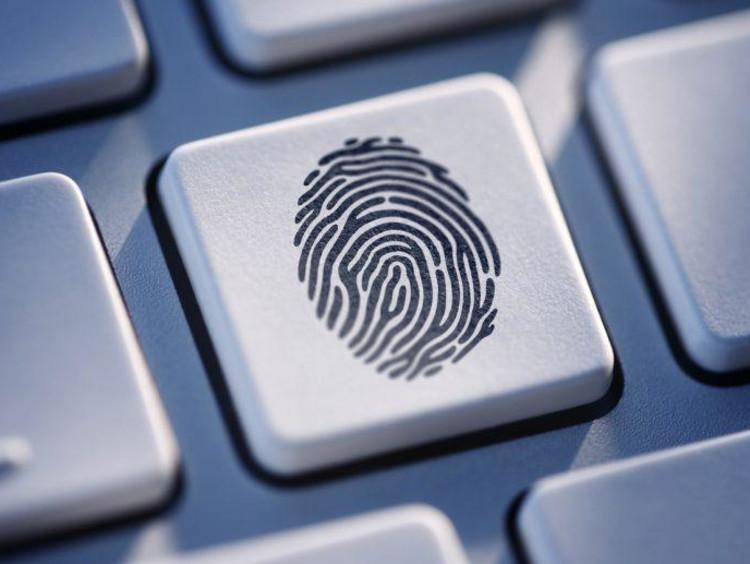 Computer keyboard with fingerprint on it