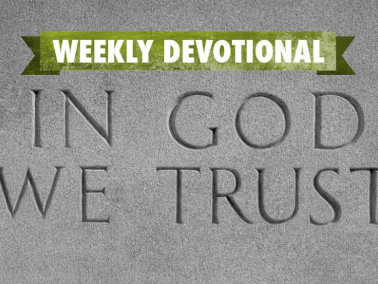 "The Weekly Devotional banner above an ""In God We Trust"" engraving"