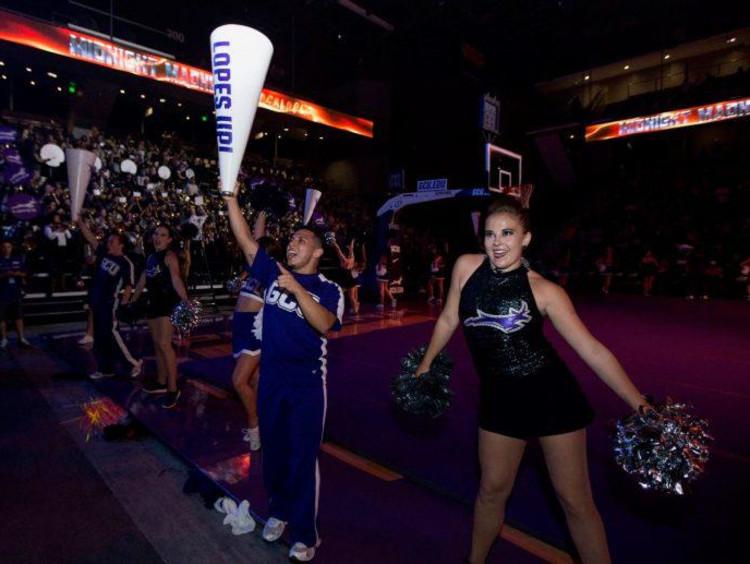 Jessica Symmes dancing at a GCU game