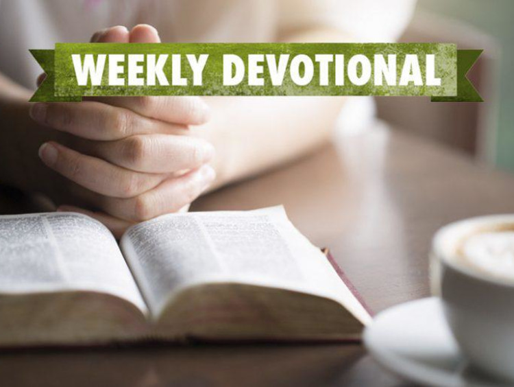 Weekly Devotional: Someone at a coffee shop reading the bible