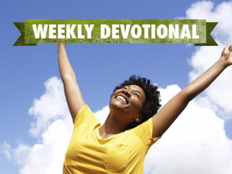 Weekly Devotional: Woman smiling with her arms up