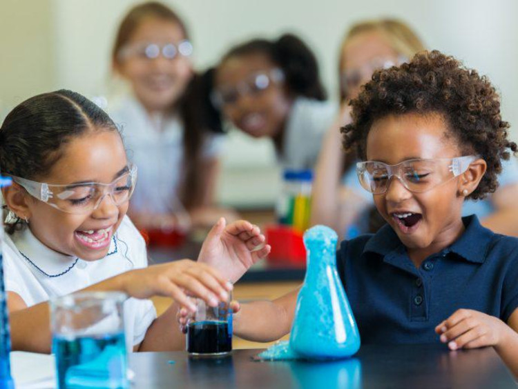 Little girls with a science experiment