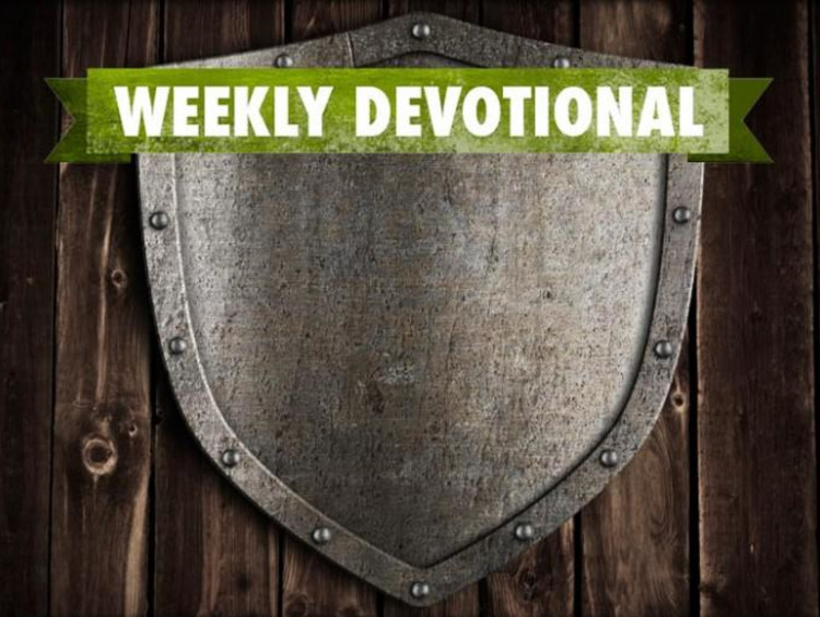A shield under the Weekly Devotional banner