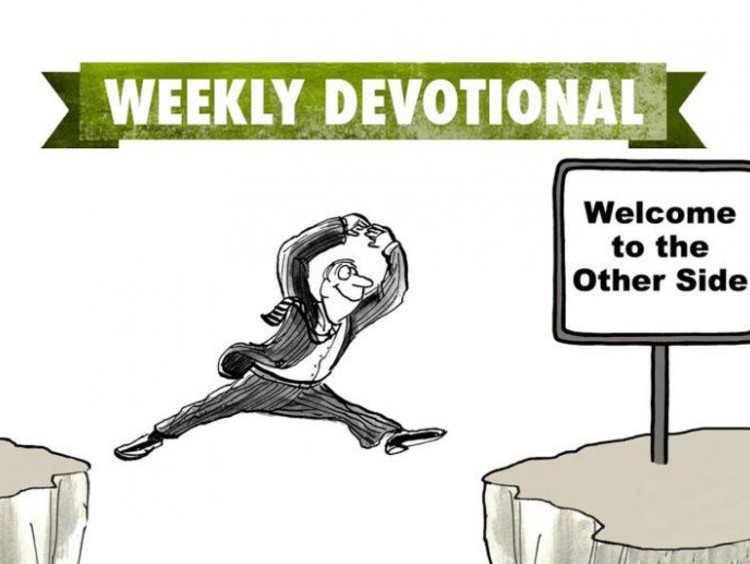 person jumping over cliff with weekly devotional banner