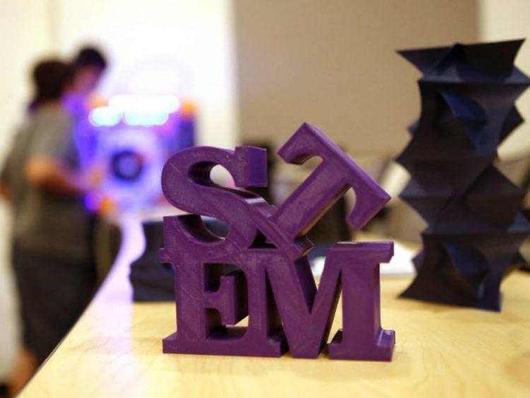 STEM letters in purple on a desk