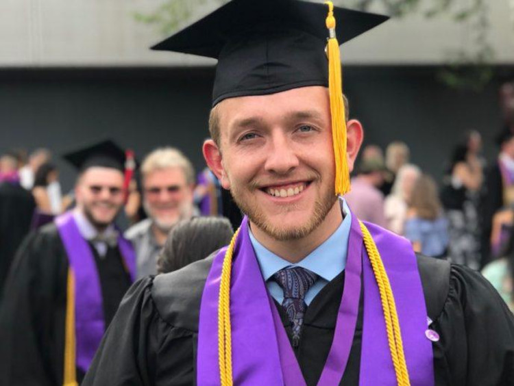 GCU student in a cap and gown