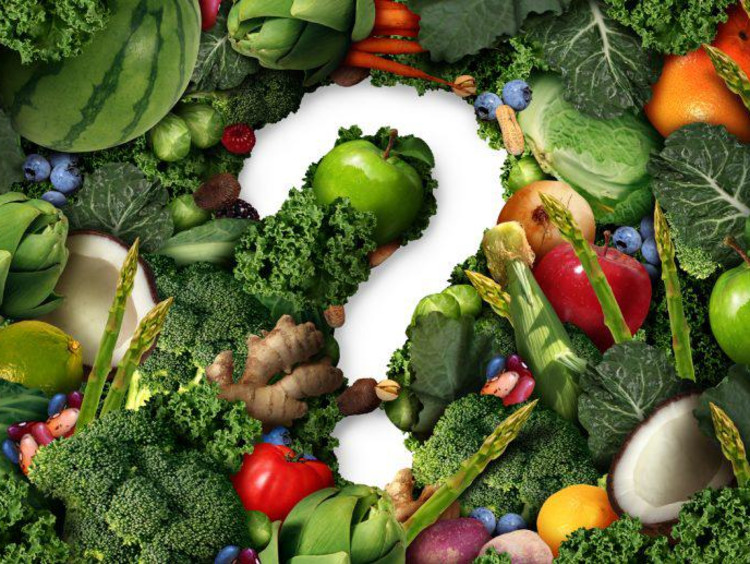 Fruits and vegetables with a question mark