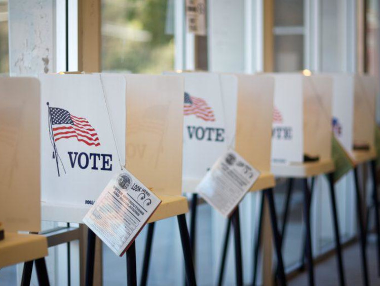voting booths in a room