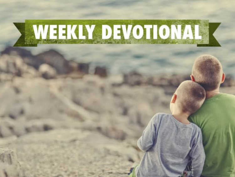 Two boys sitting on a mountain under the Weekly Devotional banner