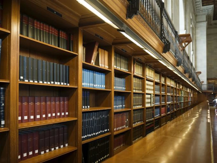 Angled view of book collections on shelves