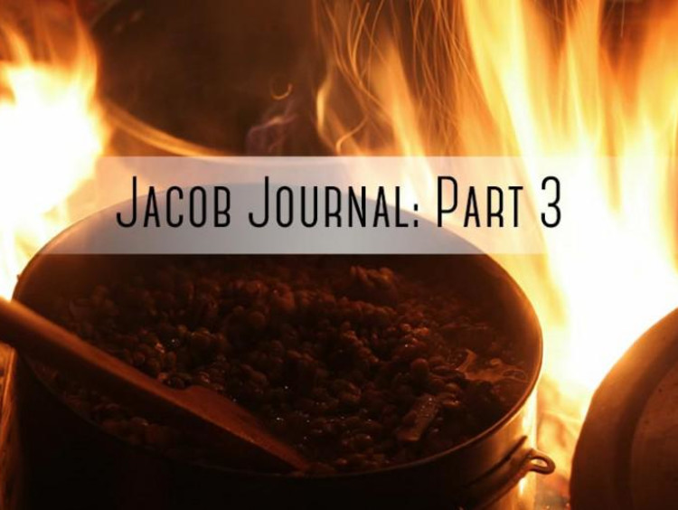 "pot on fire with ""jacob jornal part 3"" written on it"