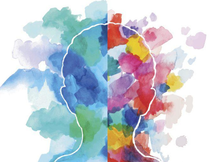 White outline of a person's head has teals and blues on left and multicolors on the right