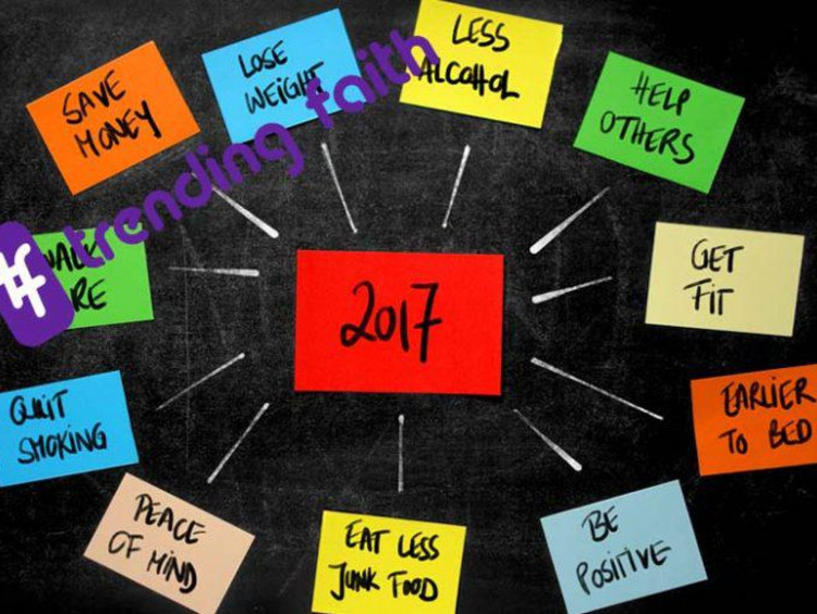 An array of post-it notes with resolutions on them