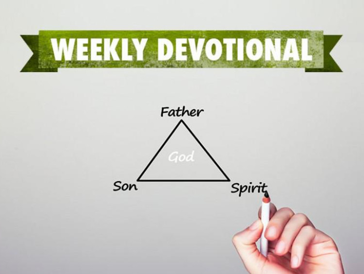 Person drawing a triangle of the Trinity below the Weekly Devotional logo