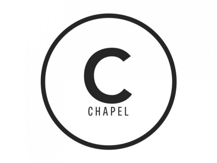 Simple chapel logo with black circle outline black c and black chapel text