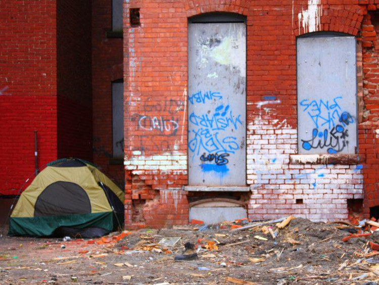 Tent set up in a rundown part of town