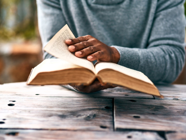 Flipping through a Bible