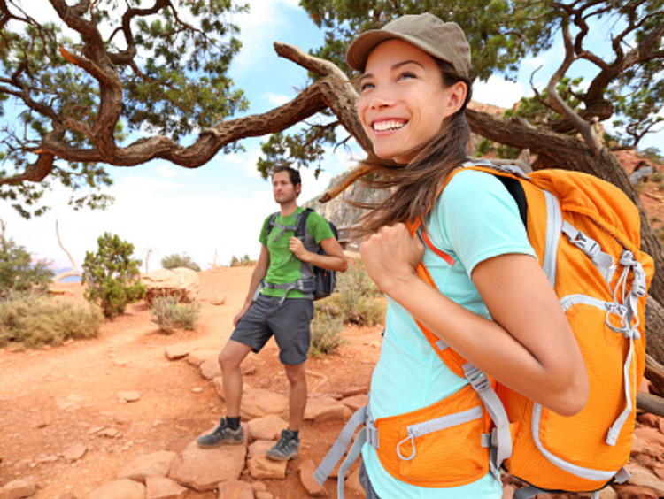 two college students day hiking in Arizona