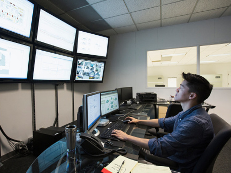 Cyber Security employee helping monitor networks