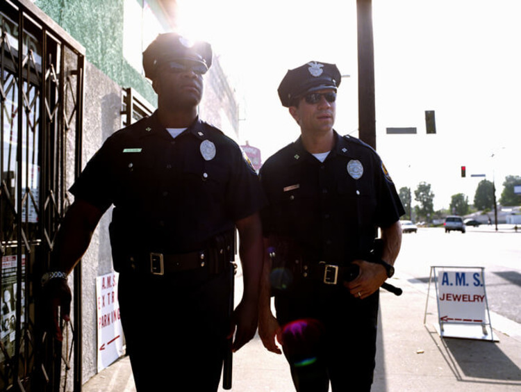 Cops patrolling the streets during their shift