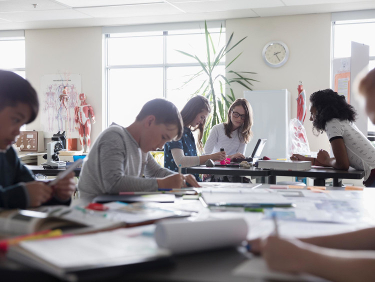 Students working in a classroom setting