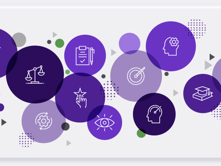 Purple-colored circles with animated graphics
