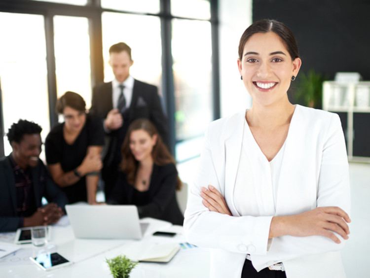 Woman leads colleagues during business project