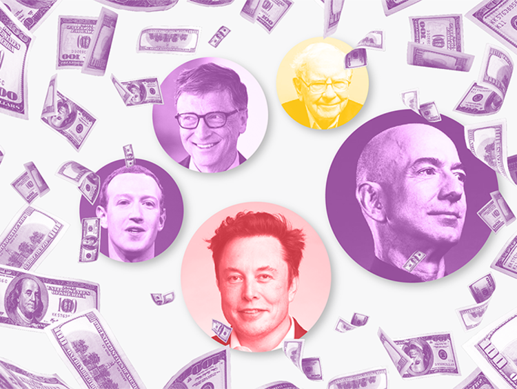 Graphic showing raining hundred dollar bills and the faces of billionaires