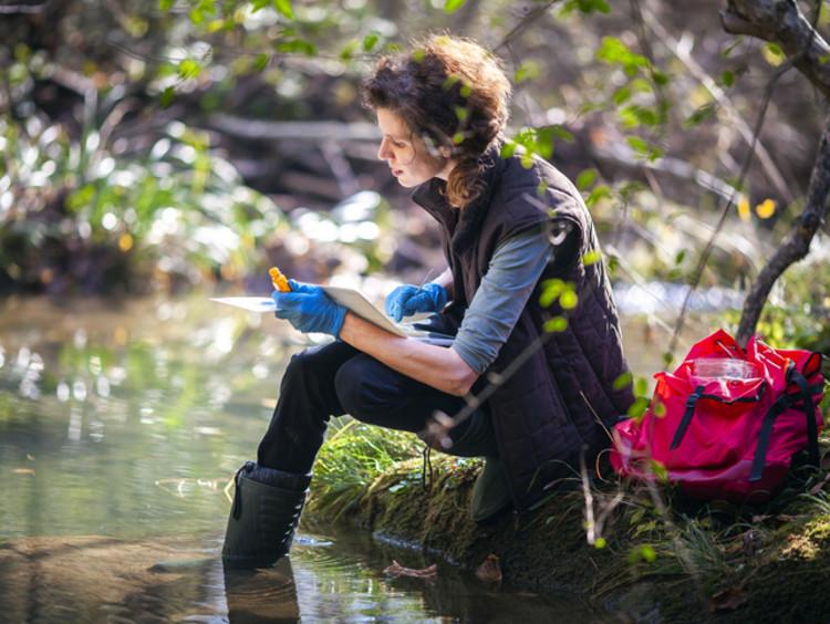 An environmental scientist taking water samples