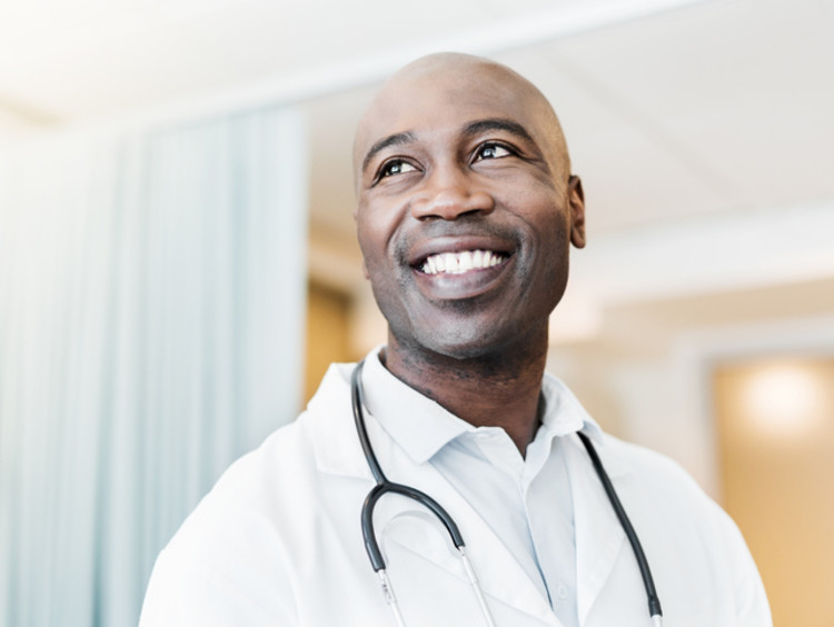 Medical professional smiling