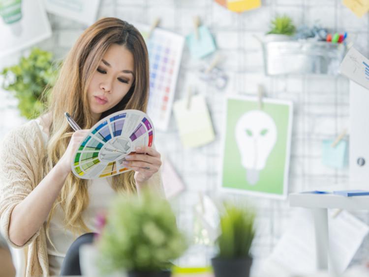 Graphic designer choosing colors