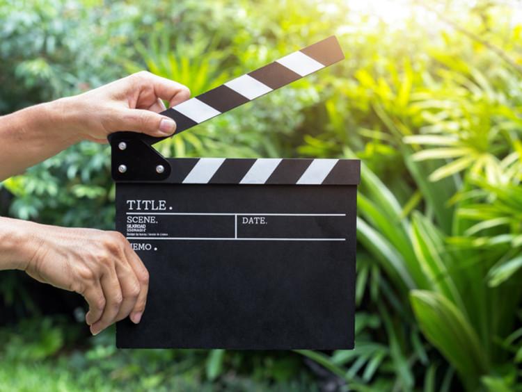 Movie clapper on set