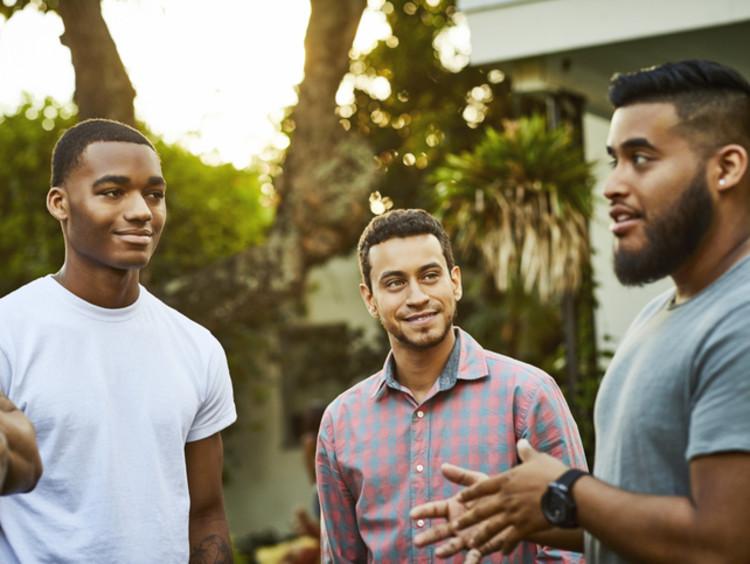 Group of men having a respectful conversation
