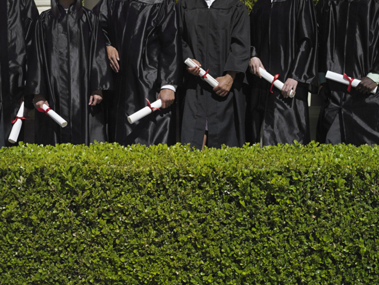 Education graduates in their gowns holding diplomas