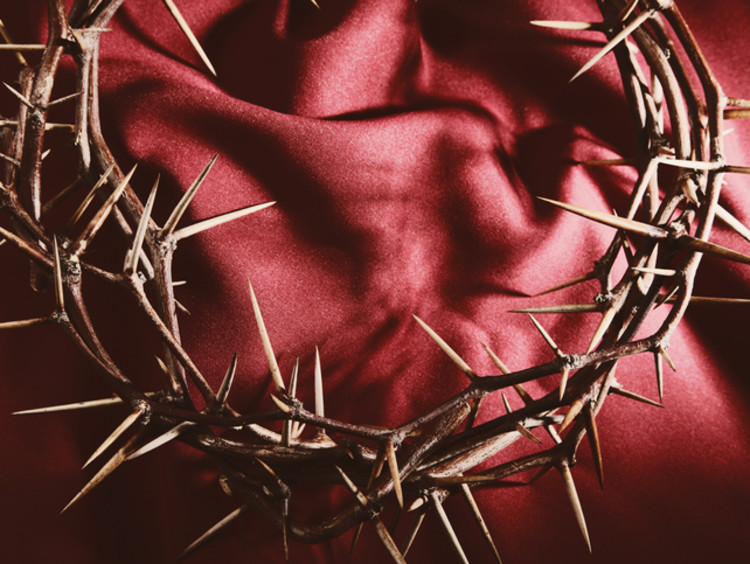 Crown of thorns on top of red satin