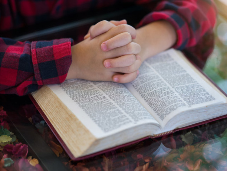 hands held together on top of a bible