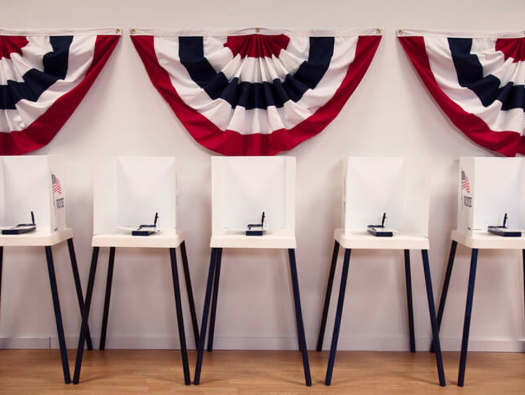 Polling stations with American swags