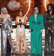 Lady Gaga, Jada Pinkett Smith, Alicia Keys, Michelle Obama, and Jennifer Lopez speak onstage during the 61st Annual GRAMMY Awards at Staples Center on February 10, 2019 in Los Angeles, California.