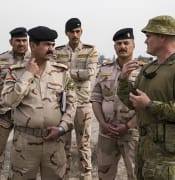 Supplied image obtained Friday, April 20, 2018; WO2 Finlay Steel instructs Iraqi Army soldiers a the Taji Military Complex in Baghdad, Iraq during his rotation with Task Group Taji 6. Warrant Officer Class 2 Finlay Steel is the Squadron Sergeant Major of the Training Task Unit in Task Group Taji. Task Group Taji comprises ADF and New Zealand personnel support and deliver training that is vital to Iraqi Security Forces as they continue to conduct operations against the threat of violent extremism and ensure ongoing stability in the regions that are now cleared of Daesh. Since 2015, Task Group Taji has trained more than 30,000 members of the Iraqi Security Forces and law enforcement agency personnel. Task Group Taji is part of Operation OKRA, which is the name given to the ADF