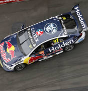 Shane van Gisbergen in the Red Bull Holden Racing Holden drives into turn 2 during the Supercars Newcastle 500 at the Newcastle Street Circuit in Newcastle, Saturday, November 23, 2019. (AAP Image/Darren Pateman) NO ARCHIVING, EDITORIAL USE ONLY