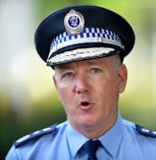 NSW Police Commissioner Mick Fuller speaks to the media during a press conference outside the RFS Headquarters in Sydney, Thursday, April 2, 2020. (AAP Image/Joel Carrett) NO ARCHIVING