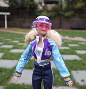 The new Elton John Barbie doll is seen in East Rutherford, New Jersey, on Thursday October 22, 2020. (AP Photo/Ted Shaffrey)